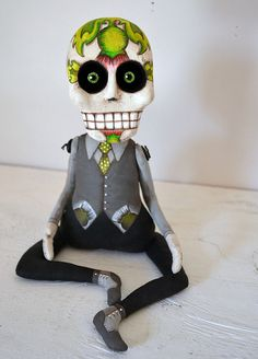 Day of the Dead Sugar Skull Doll Sculpture by cartbeforethehorse. , via Etsy.