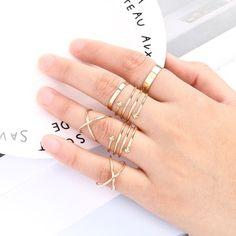 Gold ring set, ring stack, minimalist jewelry
