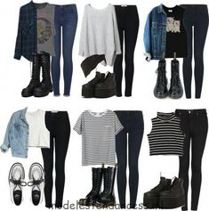 School outfits, emo outfits, high school outfits, casual grunge out Edgy Outfits, Teen Fashion Outfits, Cute Casual Outfits, Outfits For Teens, 90s Fashion, Fall Outfits, Womens Fashion, Grunge School Outfits, Cute Grunge Outfits