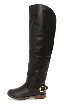 Bamboo Montage 80X Black Over the Knee Flat Boots ($49.00)
