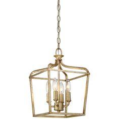 "10"" w - may be too small Laurel Estate Brio Gold Four Light 15 Inch Pendant Minka Lavery Lantern Pendant Lighting C"