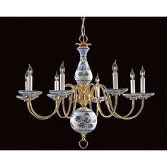 Blue Delft Chandelier With 6 Arms From Ebay