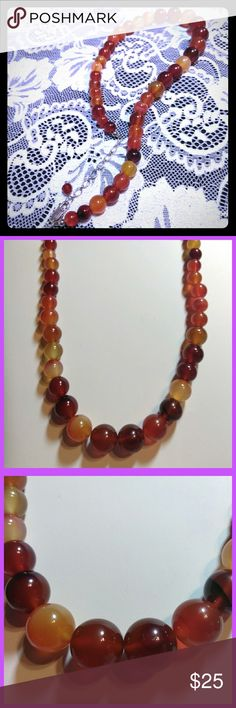 Orange Agate Necklace with .925 Clasp Beautiful orange agate beaded necklace with .925 silver clasp.  No Trades. Jewelry Necklaces