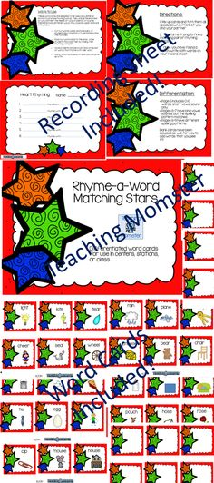 These word cards are designed to be used as a center or station to practice rhyming words. They are differentiated so you can meet the needs of your students.