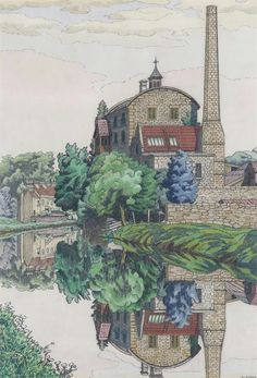 thunderstruck9:  Charles Ginner (British, 1878-1952), View on the Bath Canal, 1926. Pen, ink and watercolour, 40.5 x 27.25 cm.