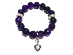 Beautiful Faceted Amethyst Agate Chunky Bracelet by TheArtOfFaith