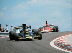 Ronnie Peterson Lotus Niki Lauda Ferrari French GP 1974