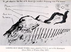 Drawing by T.E. Lawrence for Seven Pillars of Wisdom - laying out the dead Turks.