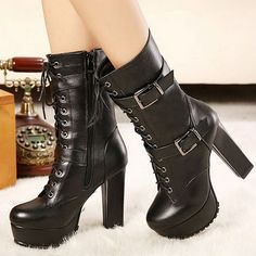 8ab7e3c5b9f Womens Chunky Heel Martin Style Lace Up Buckle Boots BLACK Gothic Boots