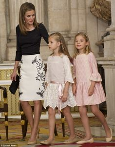 Her girls: Letizia looked casual but stylish as King Juan Carlos of Spain signed the Act o...