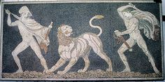 Youthful pursuit: Alexander the Great (right) and General Krateros on a lion hunt. Macedonian mosaic, fourth century BC. Bridgeman Art Library/Archaeological Museum, Pella