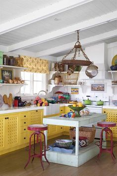 Learn how to create your own cottage-style kitchen with ideas and products from this quirky, colorful cookspace. | Photo: Tim Beddow | thisoldhouse.com