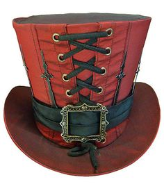 Steampunk madhatter Hand made red colour Taffeta Top Hat with clock hands