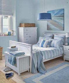 Coastal Bedroom Design and Decoration Ideas - For Creative Juice Seaside Bedroom, Beach House Bedroom, Nautical Bedroom, Coastal Bedrooms, Coastal Living Rooms, Beach House Decor, Bedroom Decor, Home Decor, Blue Bedrooms