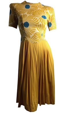 Bright Yellow and Blue Modern Floral Print Dress w/ Jersey Rayon Skirt circa 1940s