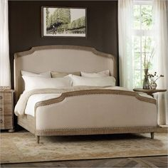 Lowest price online on all Hooker Furniture Corsica Upholstered Shelter Bed in Light Wood - 5180-908XX