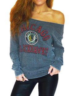 Chicago Blackhawks Ladies Off Shoulder Black Sweatshirt | SportyThreads.com