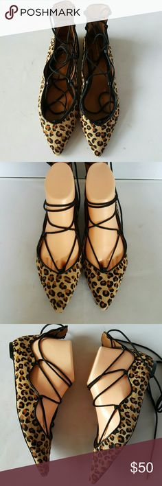 Zara Woman Gladiator Ballet Flats Leopard Pointed toe lace up ballet flats features leopard pony hair upper with leather trim. These shoes are a definite show stopper! Euro size 37. Great condition. Zara Shoes Flats & Loafers