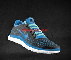Wholesale Womens Nike Free 3.0 V4 Wolf Grey University Blue Tropical Blue Lace Shoes $48.98 #dental #poker
