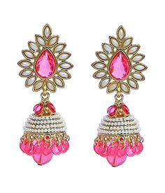 Sporting Traditional Goldtone Acrylic Stone Dangle Earring Bollywood Women Jewellery Engagement & Wedding