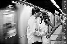 Subway shot- Engagement Pic - NYC Engagement Shoot
