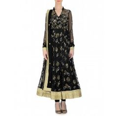 Black Anarkali Suit with Sequined Flowers by Bhumika Grover – Indian Salwar Kameez – Indian Suits – Designer Wear of India – Lengha Designs – Bestselling Dresses - #Quirky #Fun - Traditional Wear – Indian Ethnic Wear – Wedding Wear – #Lehenga #Multicolor #Vibrant #Style – Indian Fashion Clothing - #Stunning #Gorgeous – Buy Online Indian Ethnic Dresses – Shop Indian Saris, Sarees, Lengha, Salwar Suits, Jewelry, Accessories online at #ExclusivelyIn