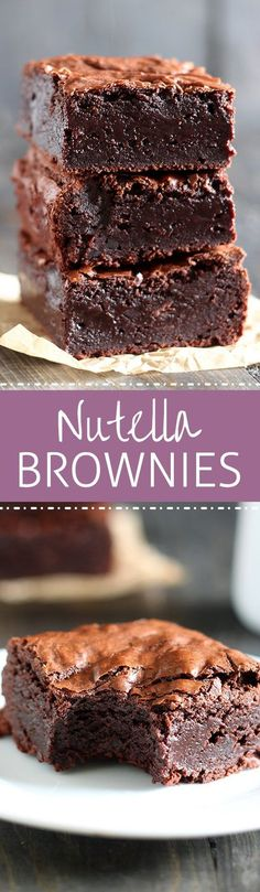 Nutella Brownies - Truly the BEST brownies ever! Just look at them! Thick, fudgy, chewy, and gooey.