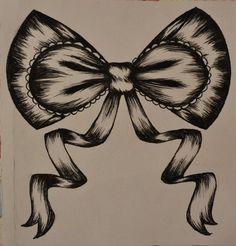 Ribbon Bow Tattoo Design #cute