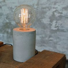 Cylindrical Concrete Table Lamp with Vintage Edison Globe / Cement Table Lamp