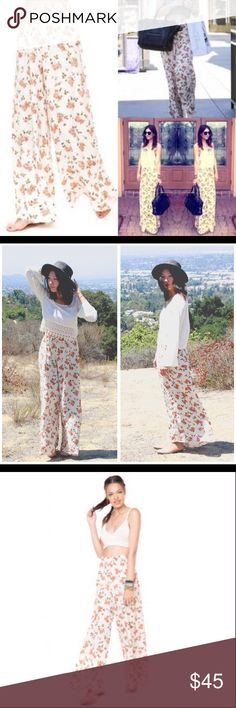 ✨Brandy Melville Floral Flowy Aarika Pants✨ Perfect condition  Brandy Melville Pants Wide Leg