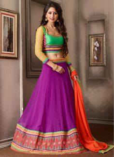 Scintillating Purple and Orange Faux Georgette Decent Lehenga Choli
