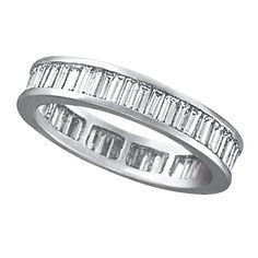 Baguette Diamond Eternity Ring Band 18k White Gold (2.10ct) - Allurez.com