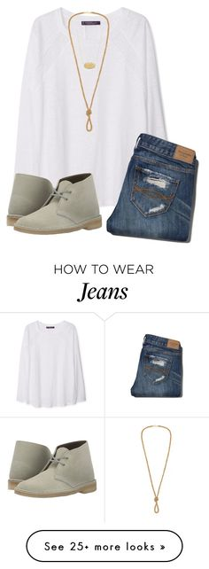 """""""#188 I'm Distressed as my Jeans"""" by ultimateprep on Polyvore featuring Violeta by Mango, Abercrombie & Fitch, Kendra Scott, Clarks, women's clothing, women, female, woman, misses and juniors"""