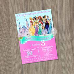 Disney Princess Invitation, Princess Birthday Invitation, Disney Princess Party, Princess Invitation, Disney Princess, Princess Birthday by CutePixels on Etsy https://www.etsy.com/listing/221599084/disney-princess-invitation-princess