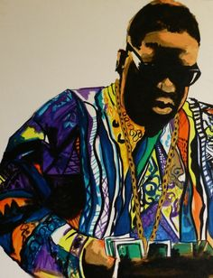 Notorious Big Biggie Smalls Coogi sweater acrylic painting on canvas #PaintedLive