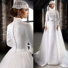 Find Vintage Satin Hijab Muslim Wedding Dresses Luxury Beaded Lace High Neck Detachable Train Long Sleeve Wedding Dresses Muslim Online Shop For U !