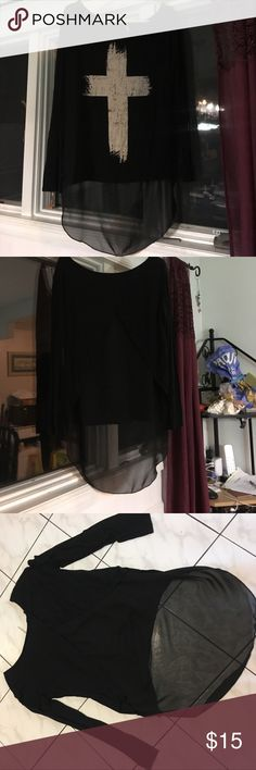 JC fits,inc Black long sleeve top Jc Fits, inc. black long sleeve top. Back is Sheer. Super soft great for leggings, longer in back JC Fits, inc Tops Tees - Long Sleeve