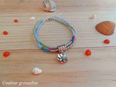 Bracelet multi rang perles de rocailles fleur de lotus : Bracelet par couleur-grenadine33