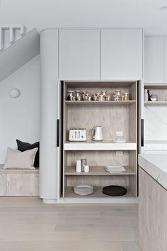 Modern built-in pantry design in polytec angora oak woodmatt modern kitchen Kitchen Pantry, Kitchen And Bath, Kitchen Storage, New Kitchen, Kitchen Appliances, Hidden Kitchen, Micro Kitchen, Wolf Appliances, Bosch Appliances