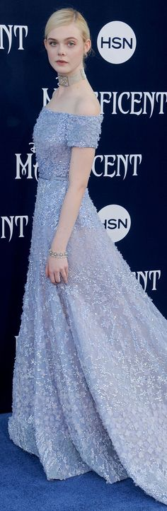 Elle Fanning in Elie Saab at the Hollywood premiere of Maleficent.