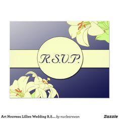 Art Nouveau Lillies Wedding R.S.V.P.