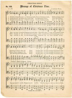 Christmas Printable Sheet  Music from Knick of Time. Awesome Vintage site.