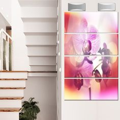 DesignArt 'Beautiful Pink Orchid Flowers' 4 Piece Photographic Print on Canvas Set
