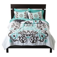 Xhilaration Scroll Comforter Set   I think this one is teal and black. If it's brown I don't want it. lol