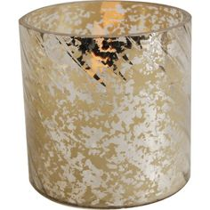 Cast a warm glow on the mantel or add an inviting touch to the guest room with this lovely glass LED candle, showcasing a flecked silver and gold finish...