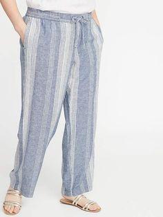 ba90eb736e7c0 Mid-Rise Wide-Leg Linen-Blend Pull-On Pants for Women in 2019 ...