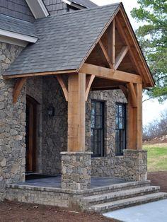 Rustic Houses Exterior, Craftsman Exterior, Home Exterior Makeover, Exterior Remodel, Mountain Home Exterior, Veranda Design, Porch Addition, Front Porch Design, Timber Frame Homes