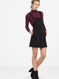 Black Pinafore Mini Dress // #NobodysChild #fashion