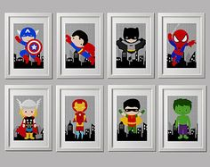 superhero nursery prints, superhero bedroom prints, superhero wall decor, set of 8, shipped to your door, Super hero wall art PRINTS