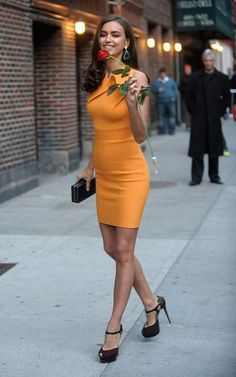 love this mandarin color dress